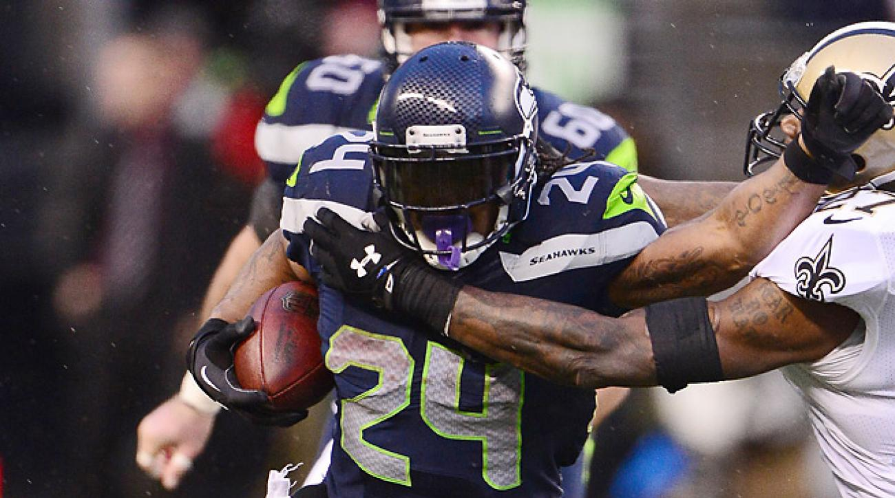 Marshawn Lynch ran for 140 yards and two touchdowns in Seattle's 23-15 win over New Orleans.