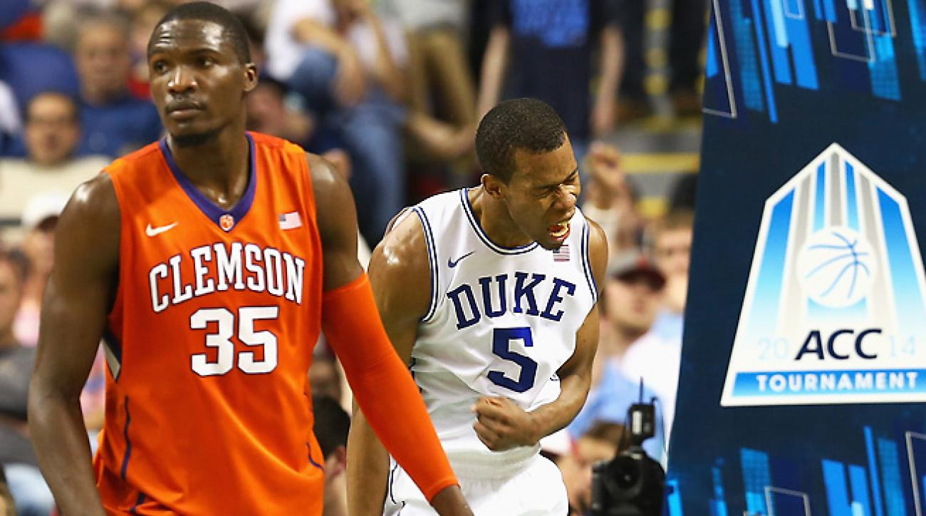 Rodney Hood (5) fended off illness to lead Duke to its gutty win over Clemson in the ACC Tournament.
