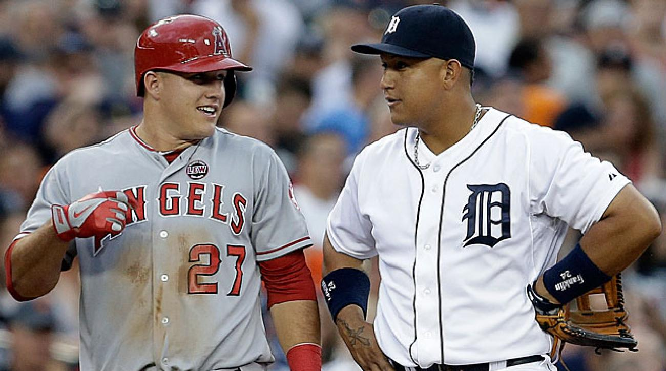 Mike Trout (left) has been the runner-up to Miguel Cabrera for the AL MVP award each of the past two seasons.