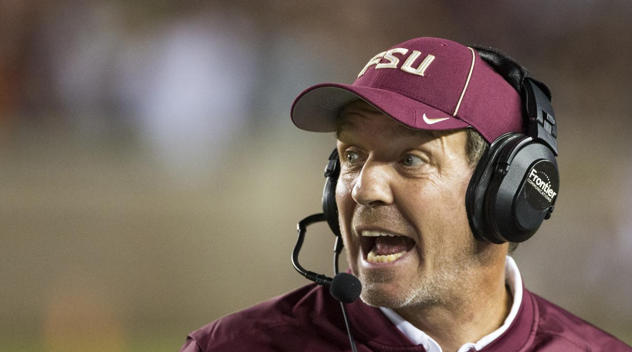 Florida State coach Jimbo Fisher shouts instructions during the second half of the team's NCAA college football game against Clemson in Tallahassee, Fla., Saturday, Oct. 29,2016. Clemson defeated Florida State 37-34. (AP Photo/Mark Wallheiser)