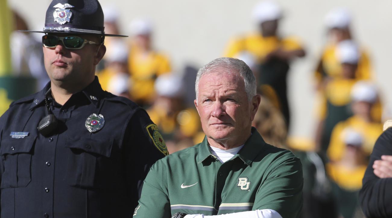 Baylor acting head coach Jim Grobe looks on following their NCAA college football game with Kansas State , Saturday, Nov. 19, 2016, in Waco, Texas. (Rod Aydelotte/Waco Tribune Herald via AP)