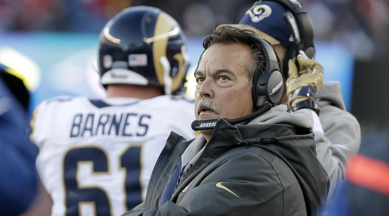 Los Angeles Rams head coach Jeff Fisher watches from the sideline during the second half of an NFL football game against the New England Patriots, Sunday, Dec. 4, 2016, in Foxborough, Mass. (AP Photo/Steven Senne)