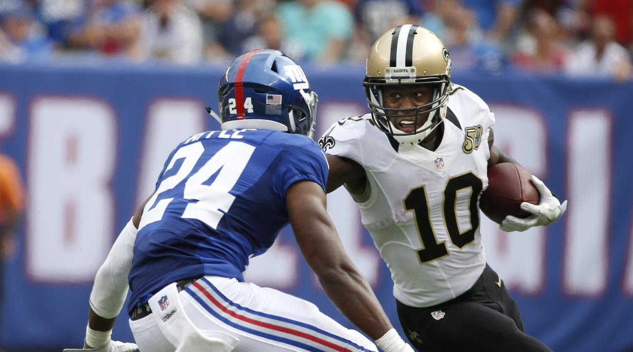 FILE - In this Sunday, Sept. 18, 2016 file photo, New Orleans Saints wide receiver Brandin Cooks (10) runs away from New York Giants' Eli Apple (24) during the second half of an NFL football game in East Rutherford, N.J. Cooks, who expressed unhappiness a