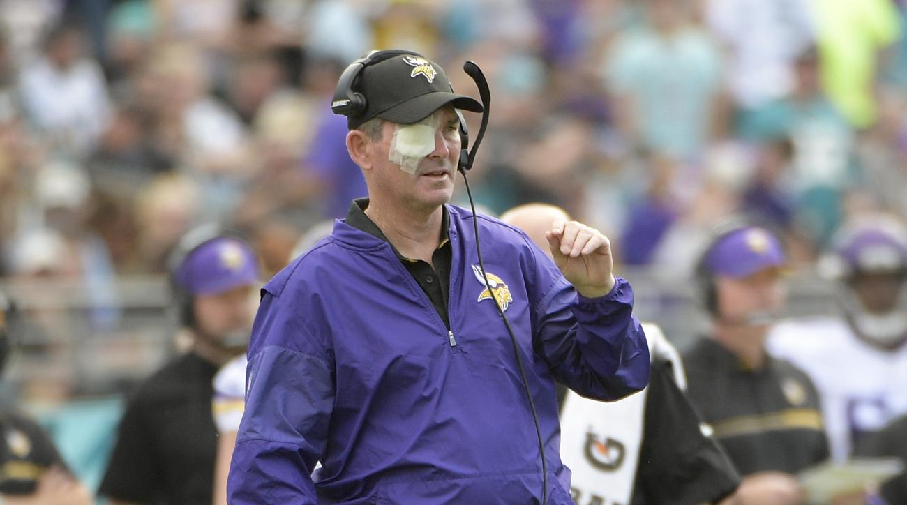 Minnesota Vikings head coach Mike Zimmer directs his team while wearing a patch over his right eye because of a detached retina during the first half of an NFL football game against the Jacksonville Jaguars, Sunday, Dec. 11, 2016, in Jacksonville, Fla. (A