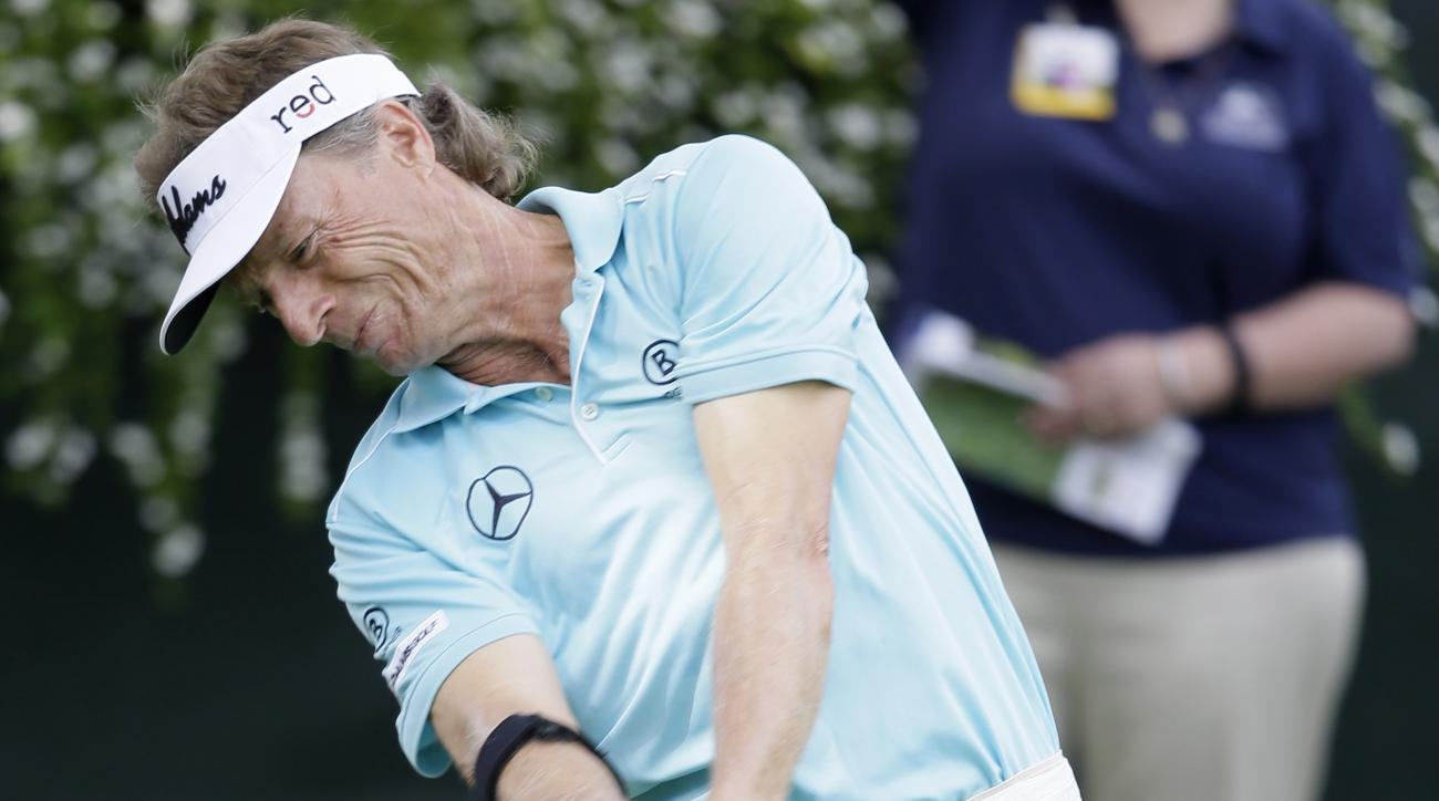 Bernhard Langer hits off the first tee during the first round of the Champions Tour's Principal Charity Classic golf tournament, Friday, June 5, 2015, in Des Moines, Iowa. (AP Photo/Charlie Neibergall)