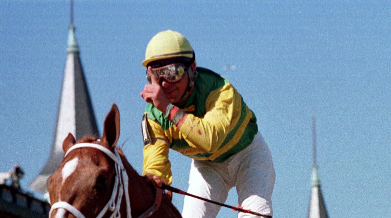 FILE - In this May 1, 1999, file photo, jockey Chris Antley gestures aboard Charismatic after crossing the finish line to capture the 125th running of the Kentucky Derby in Louisville, Ky. Former Kentucky Derby and Preakness Stakes winner Charismatic has