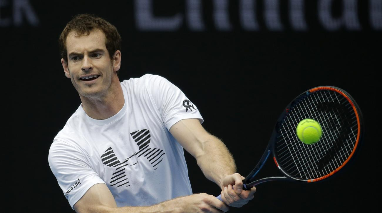 Britain's Andy Murray makes a backhand return during a practice session head of the Australian Open tennis championships in Melbourne, Australia, Sunday, Jan. 15, 2017. (AP Photo/Aaron Favila)