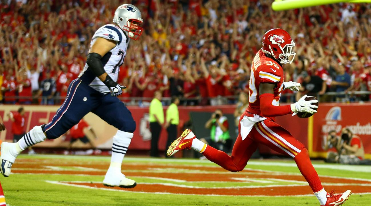 Chiefs' safety Husain Abdullah was penalized Monday night after returning an interception for a TD and sliding into a prayer position to celebrate.