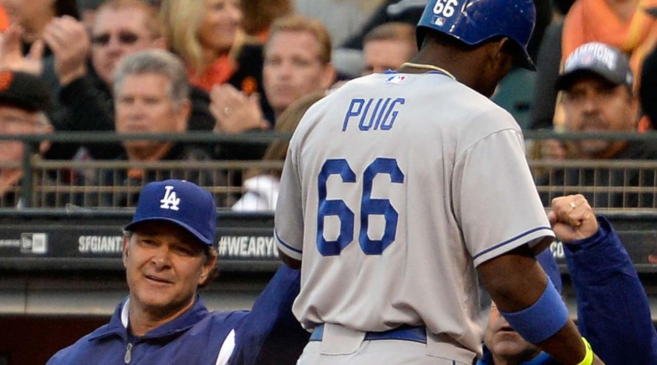 The Los Angeles Dodgers decided to pull Yasiel Puig out of the lineup for Game 4 of the NLDS.