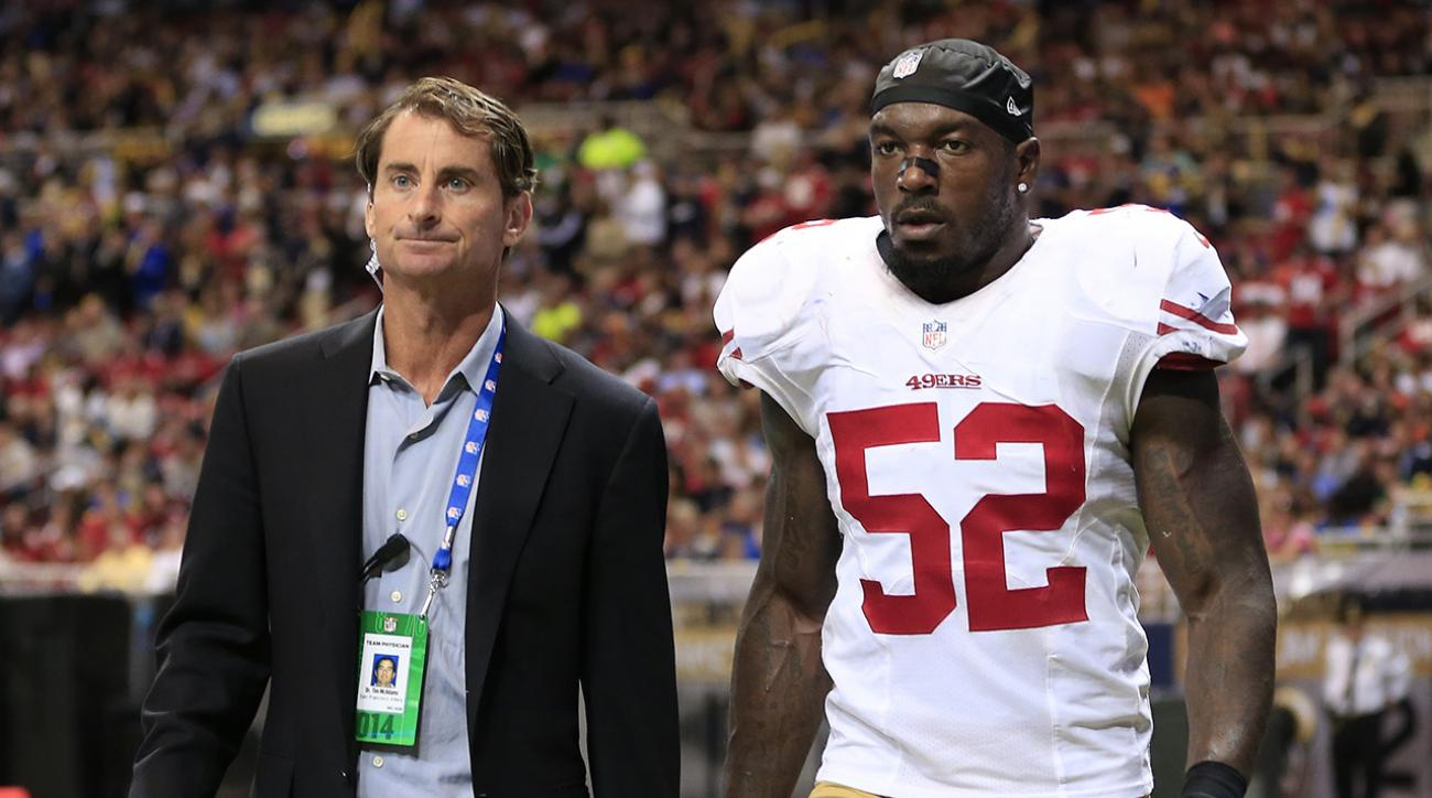 San Francisco's veteran linebacker Patrick Willis left Monday night's game against the Rams with a toe injury.