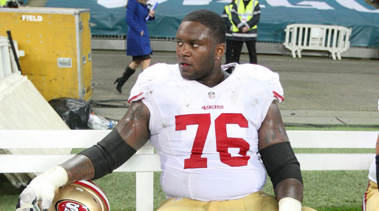Sidelined San Francisco 49ers tackle Anthony Davis captured a fan being arrested Monday night at the Edward Jones Dome.