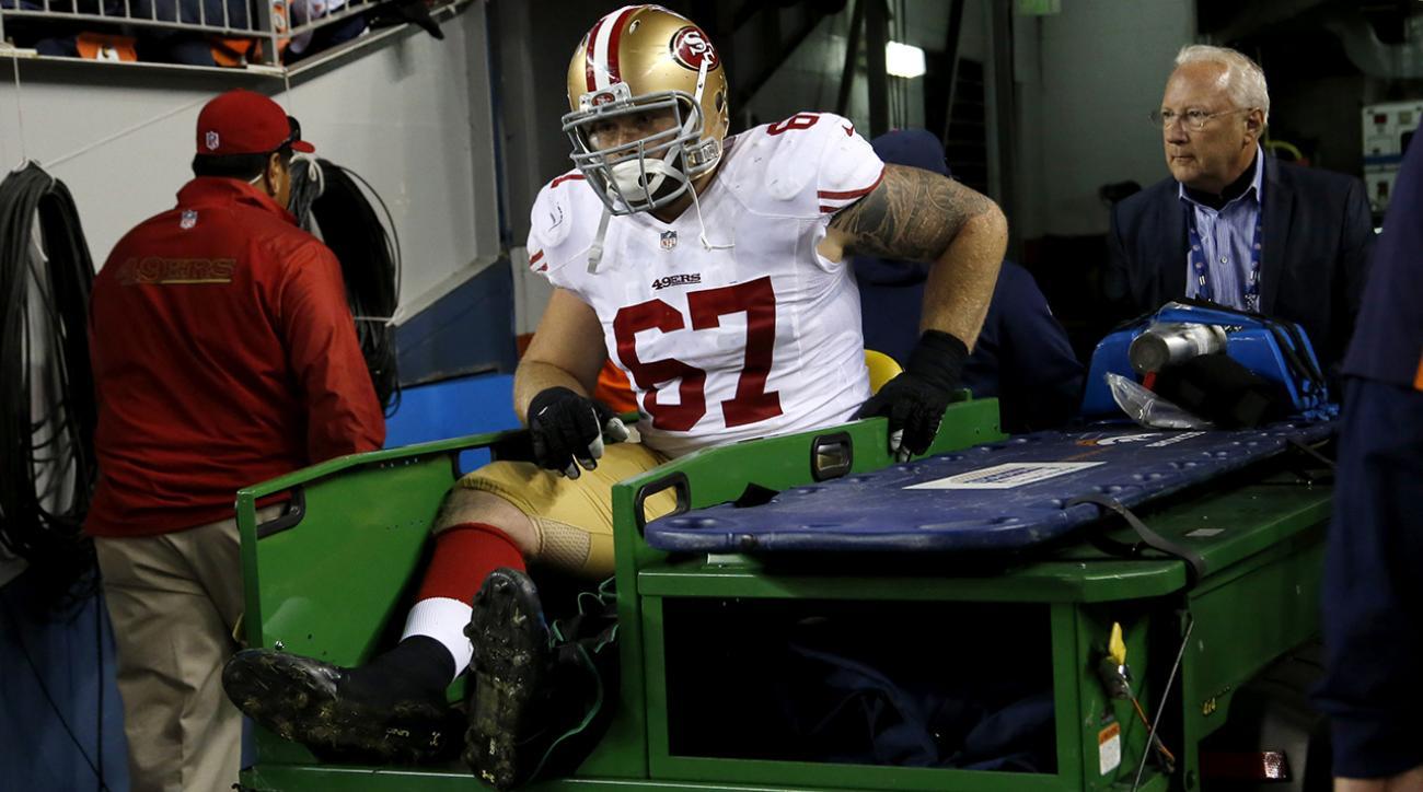 Report: 49ers C Dan Kilgore breaks leg, likely out for rest of season
