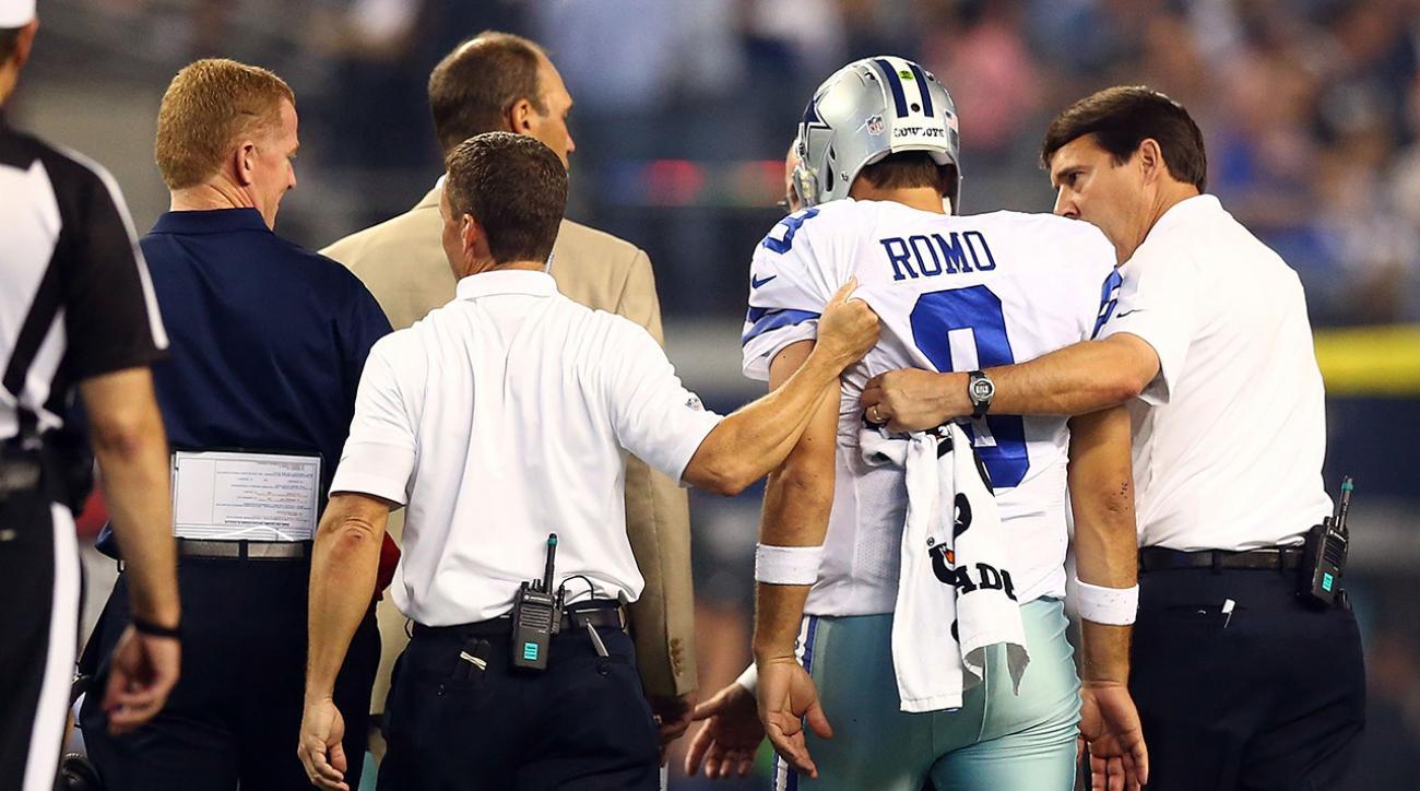Tony Romo injures back during Monday night's game, will get MRI