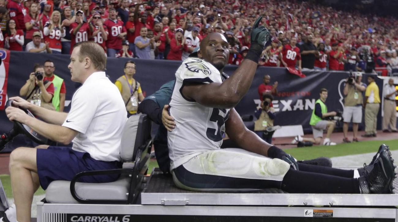 Eagles linebacker DeMeco Ryans is reportedly out for the season after he tore his Achilles tendon in Sunday's win over the Texans.
