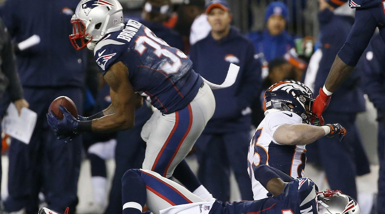 Broncos WR Wes Welker was hurt after being spearheaded in the back by Patriots DB Devin McCourty, who appeared to hit Welker with his helmet.
