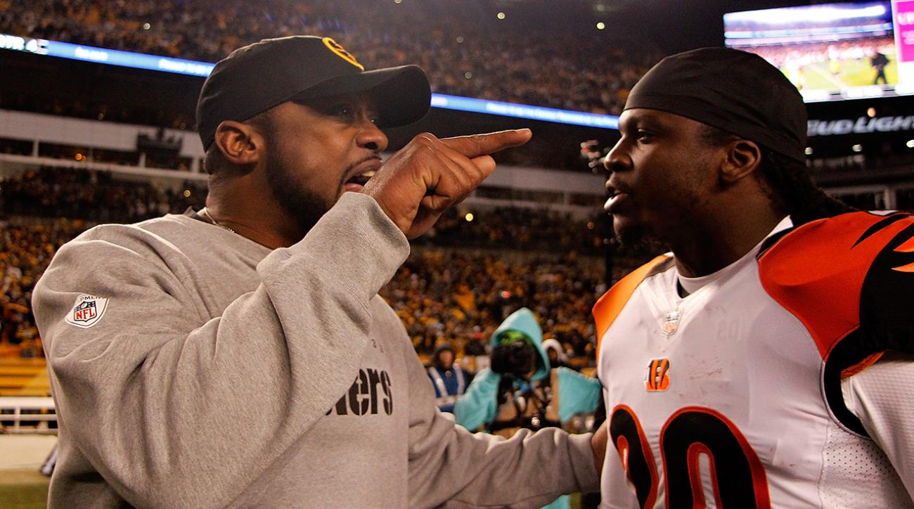 Mike Tomlin and Reggie Nelson exchange words postgame