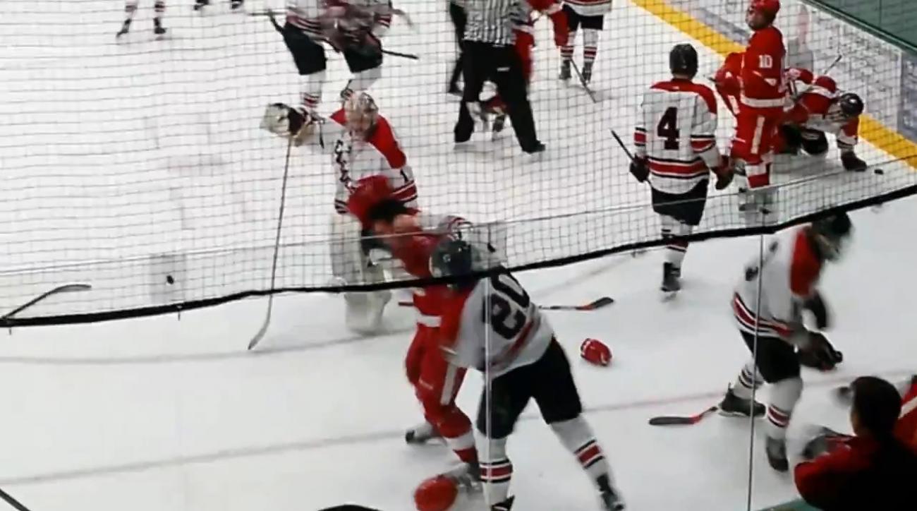 Massive brawl at Minnesota high school hockey game