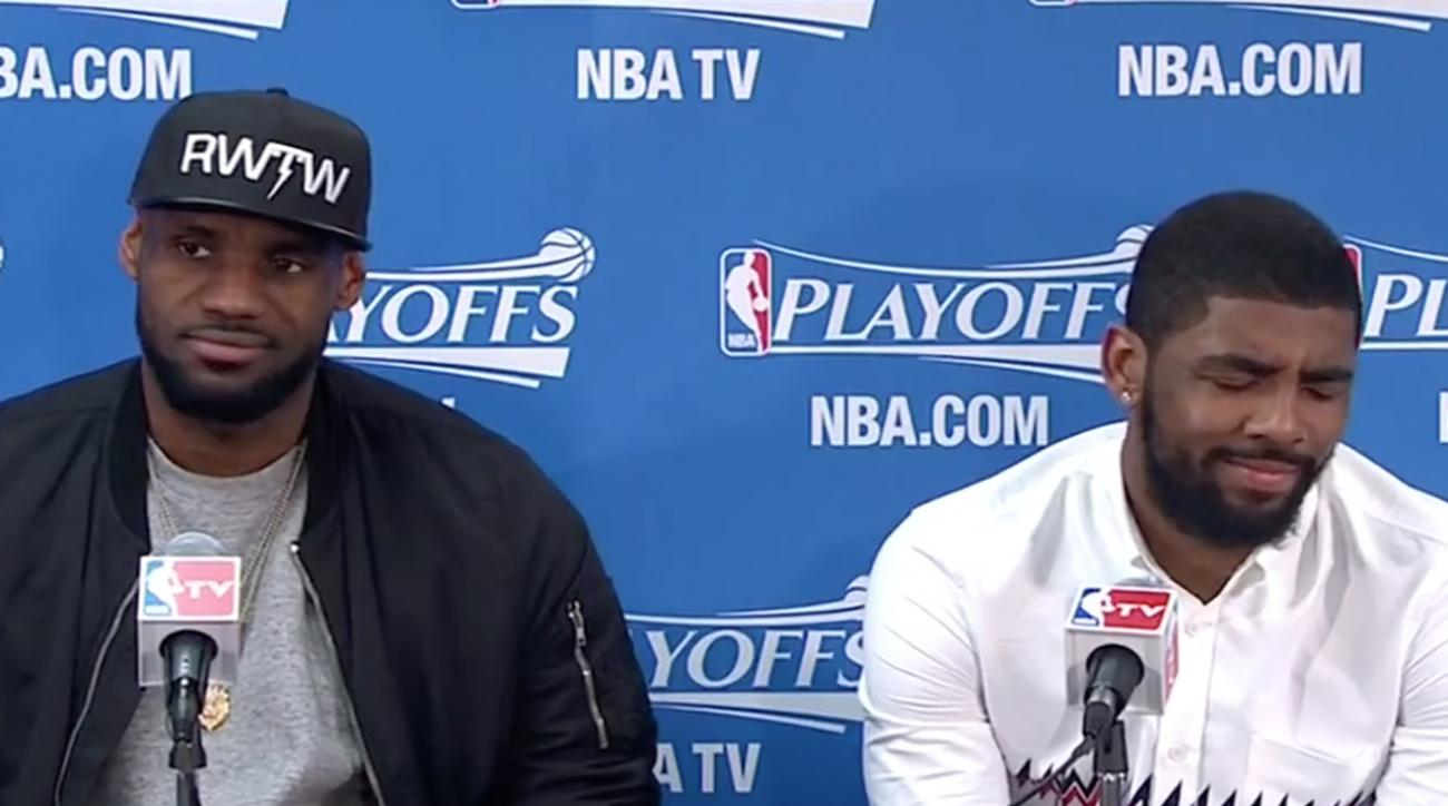 LeBron James asked about Kyrie Irving's zero assists