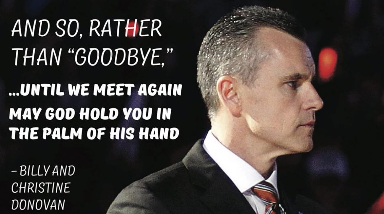 Billy Donovan says goodbye to Florida fans in full-page ad