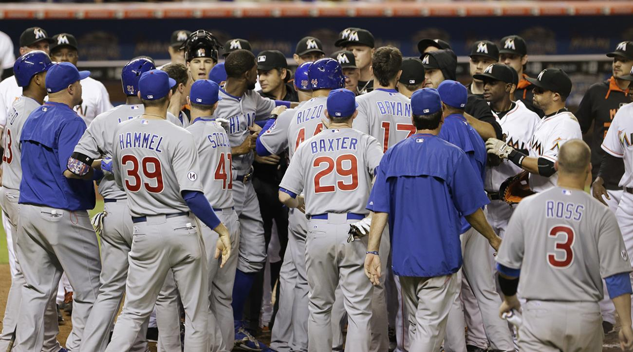 cubs junior lake marlins benches clear