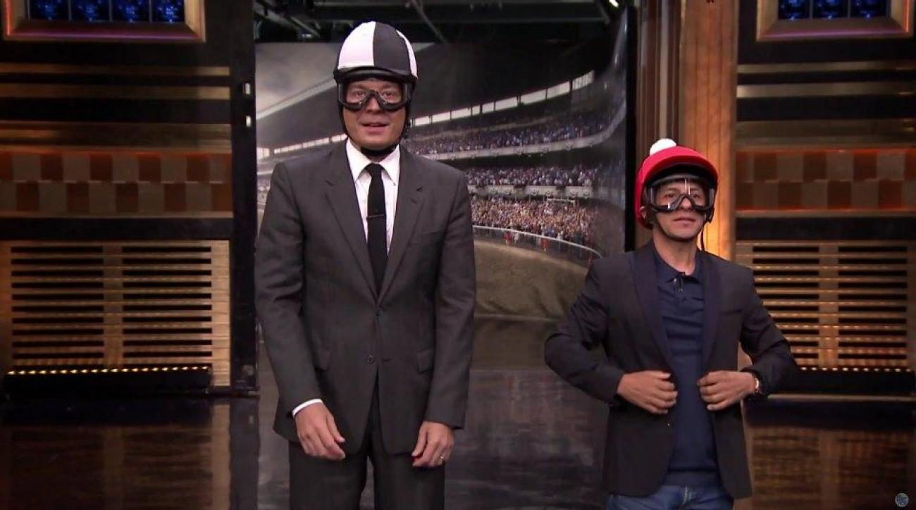 Jimmy Fallon challenges American Pharoah jockey to minibike race