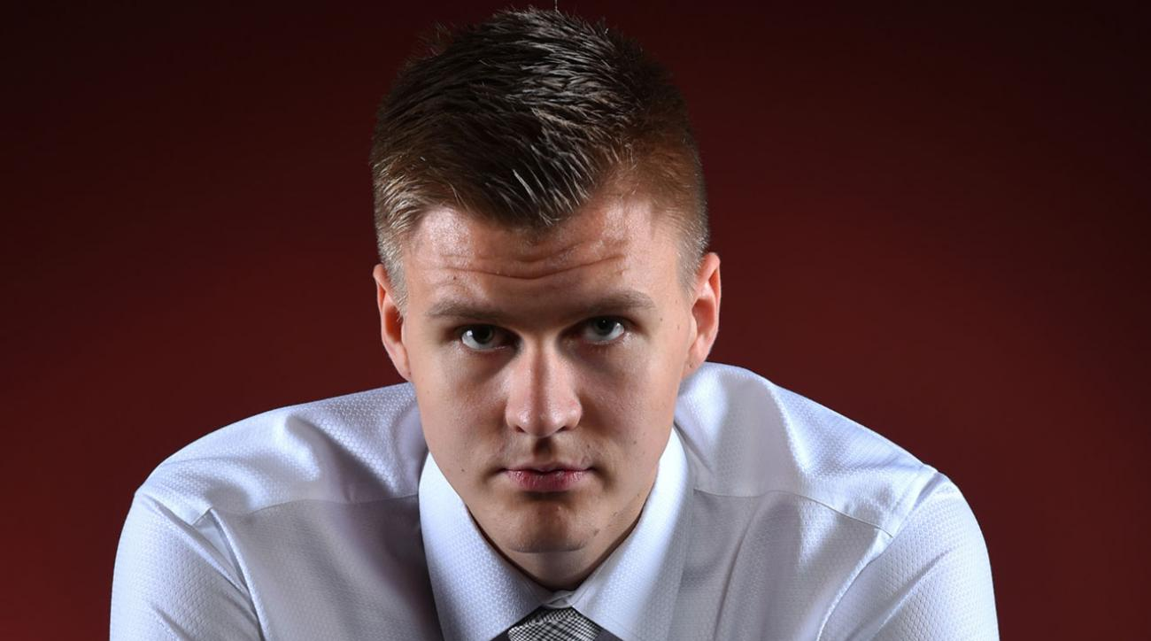 A Whole New Approach: Knicks Top pick Kristaps Porzingis shows off his rapping skills IMAGE
