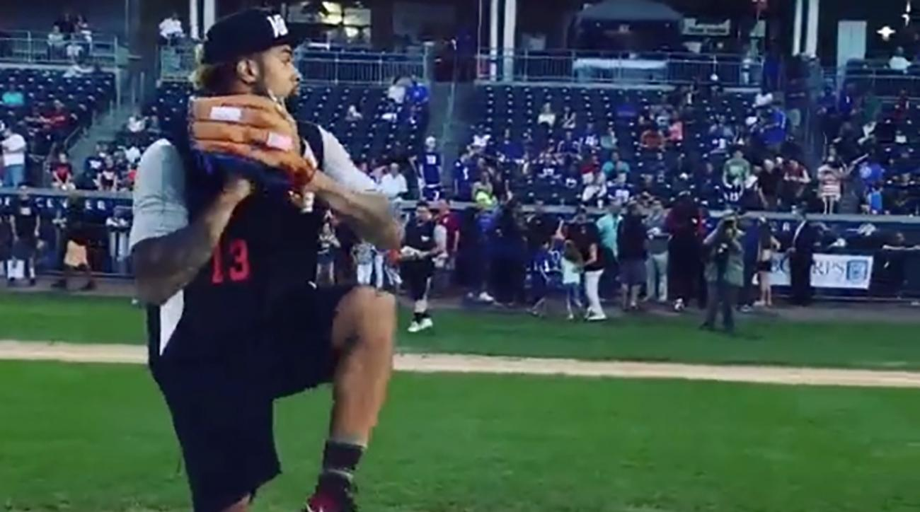 odell-beckham-jr-throws-heat-softball-game-new-york-giants