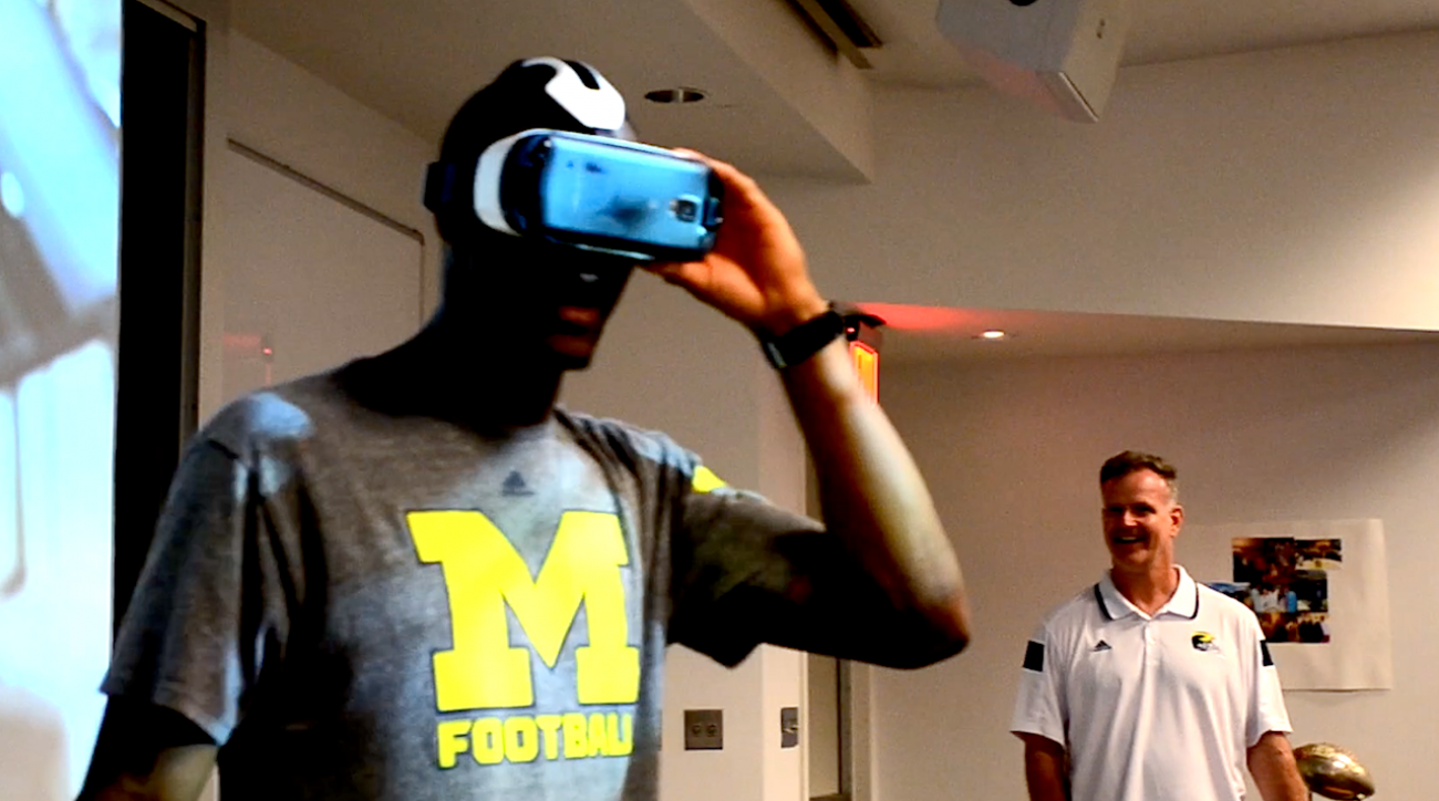 College football, jim harbaugh, michigan wolverines, sports illustrated, Virtual Reality, college recruiting