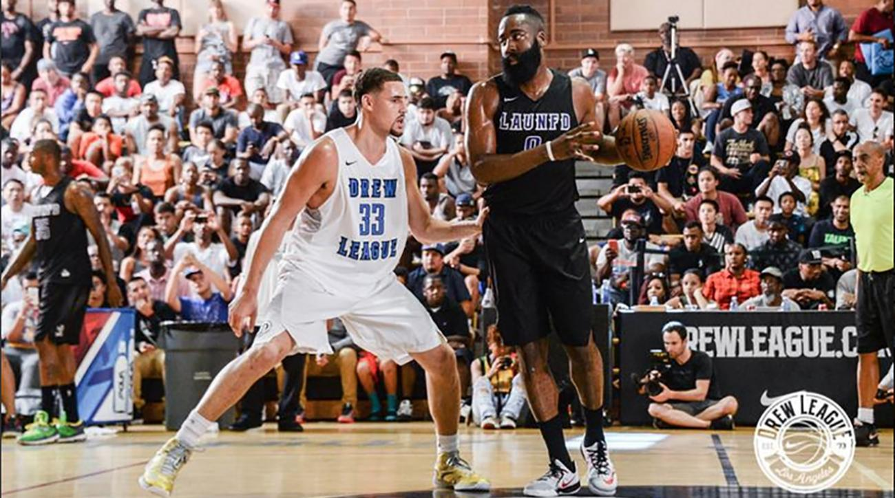 James Harden and Klay Thompson battle in the Drew League