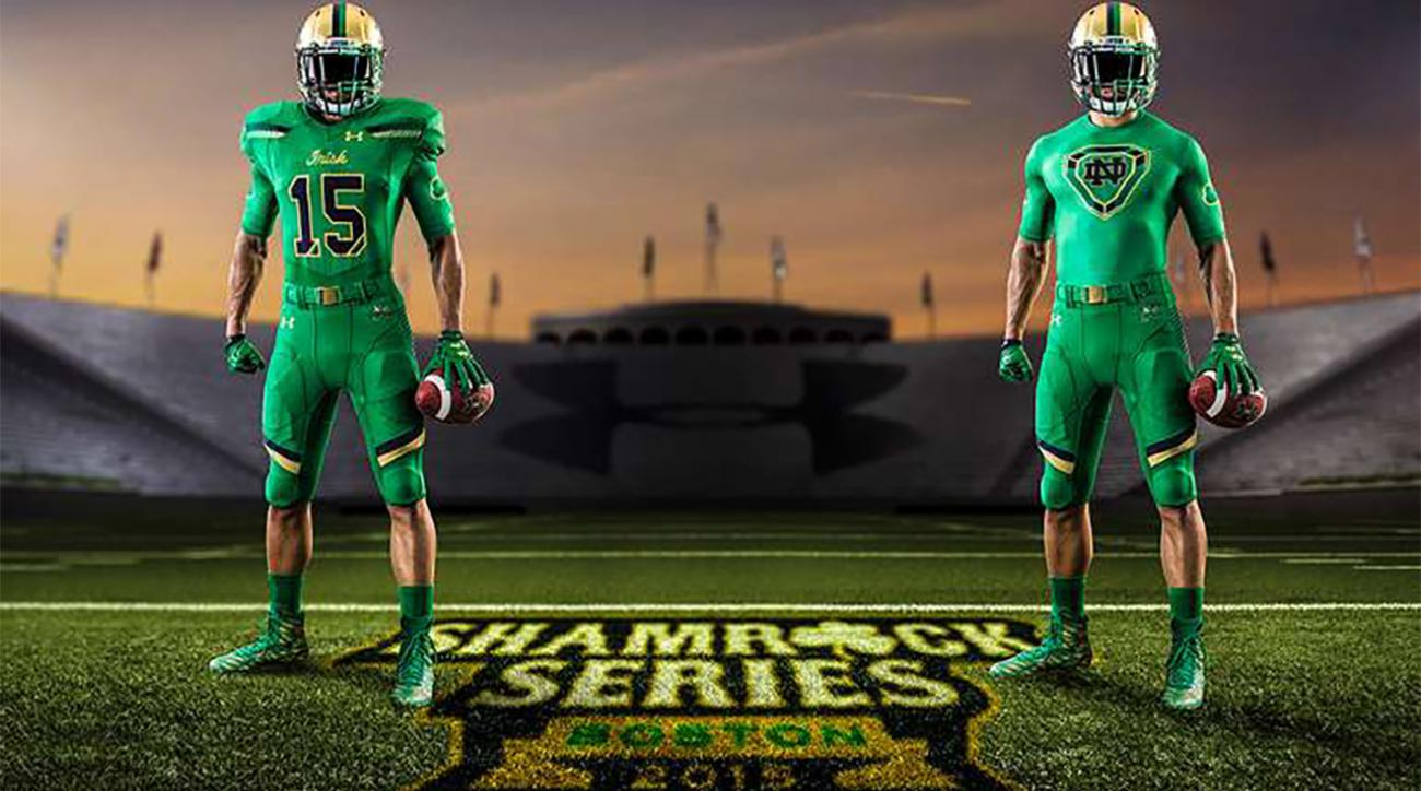 Notre Dame, Boston College reveal new uniforms for Shamrock Series