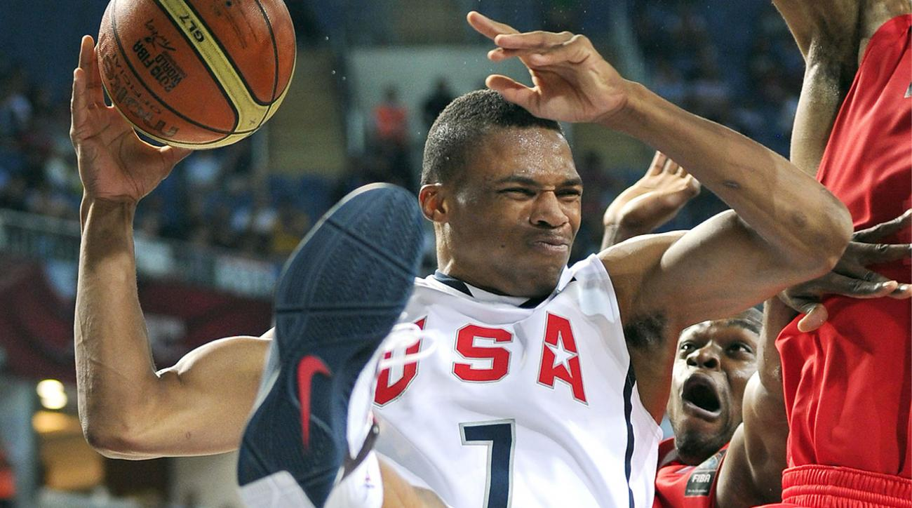 Watch: Russell Westbrook screw up Team USA drill, LeBron and Carmelo laugh it up