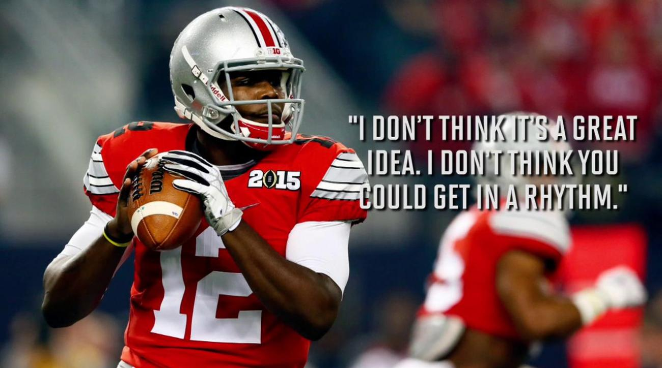 Ohio State quarterbacks Cardale Jones, J.T. Barrett opposed to splitting time