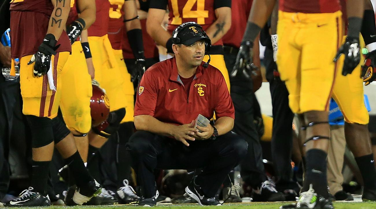 USC head coach Steve Sarkisian gives play-calling duties to OC Clay Helton