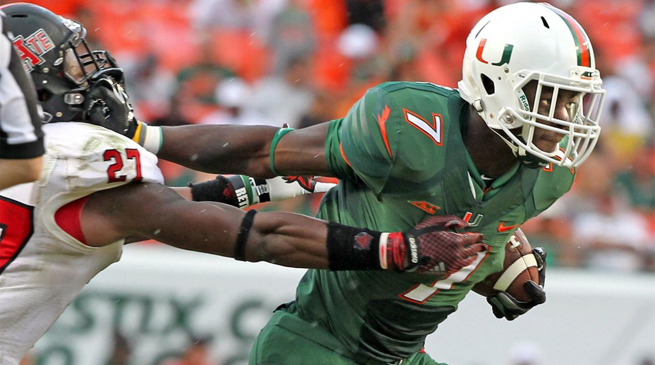Miami running back Gus Edwards out for season
