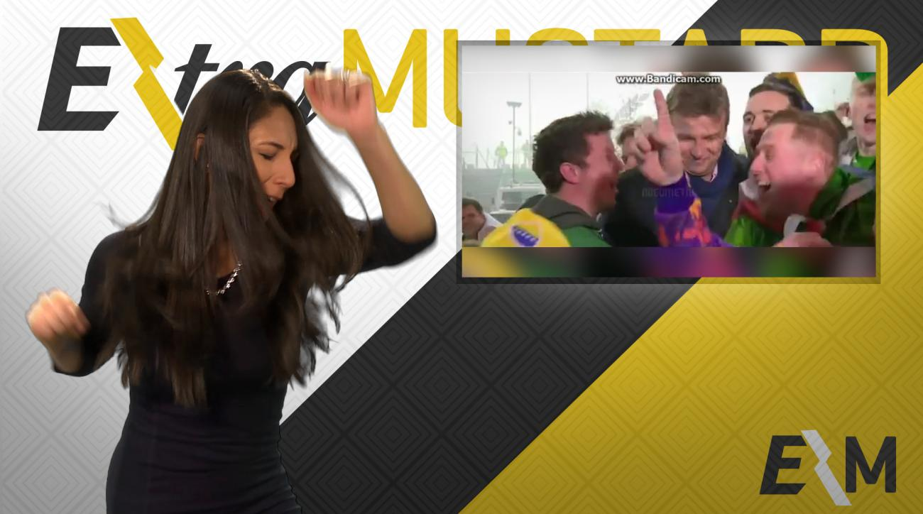 Mustard Minute: Reporter gets bombarded by happy Irish football fans IMG