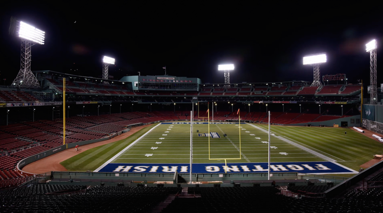 boston college eagles, College football, fenway park, Notre Dame Fighting Irish, sports illustrated, notre dame fenway park, fenway park timelapse, timelapse