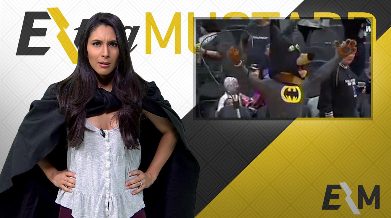 Mustard Minute: San Antonio Spurs mascot catches bat dressed as Batman IMG