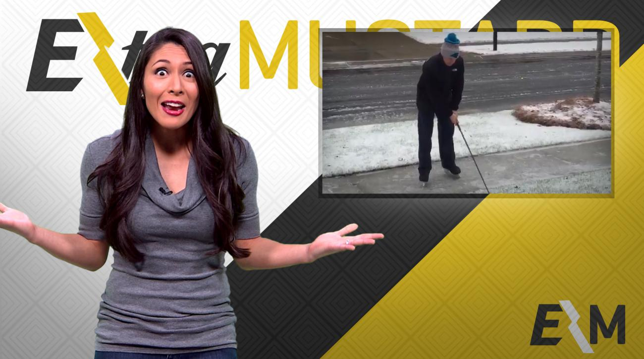 Mustard Minute: Impressive Happy Gilmore golf swing on ice IMG