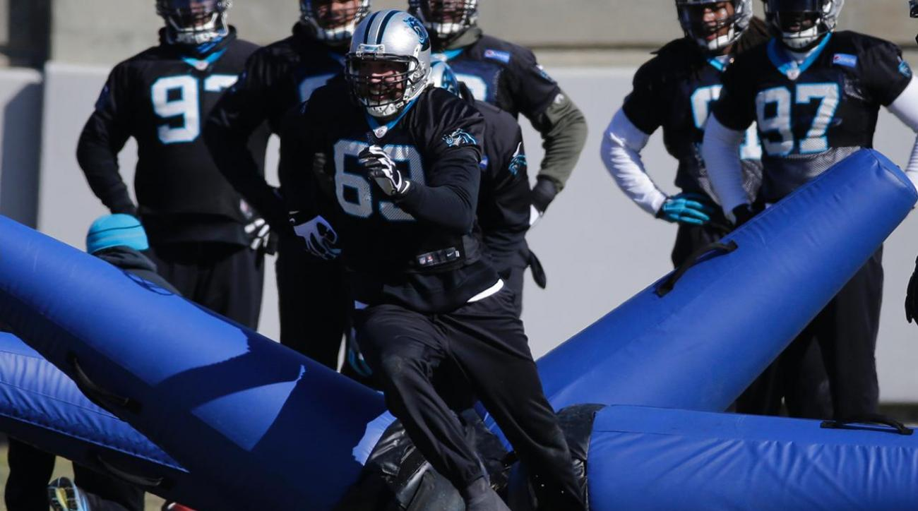 Panthers DE Jared Allen (broken foot) returns to practice IMAGE