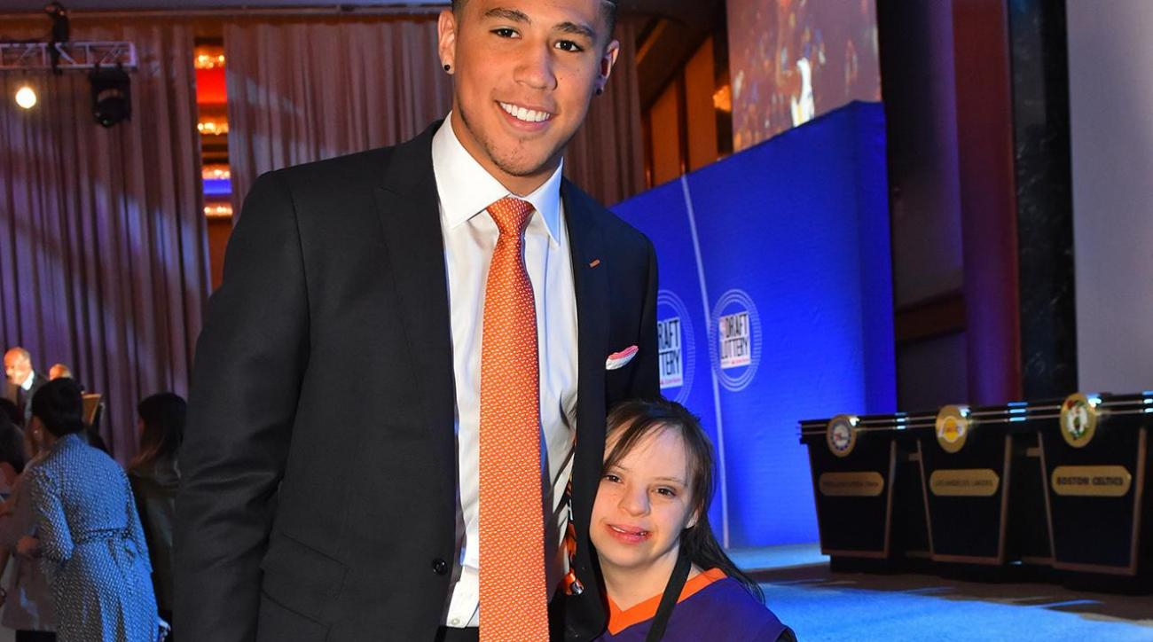 Suns guard Devin Booker brought a special guest to NBA lottery