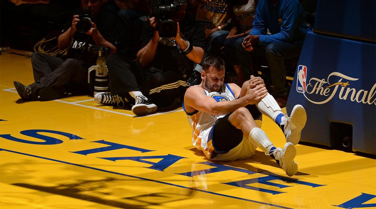 Andrew Bogut out for rest of NBA Finals with knee injury