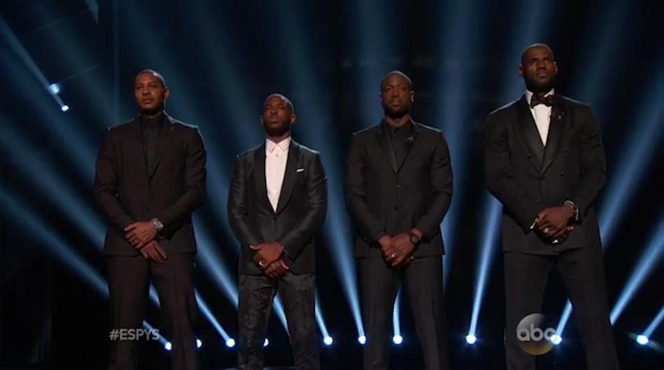Carmelo Anthony, LeBron James, CP3, D-Wade open up ESPYs with powerful message IMAGE