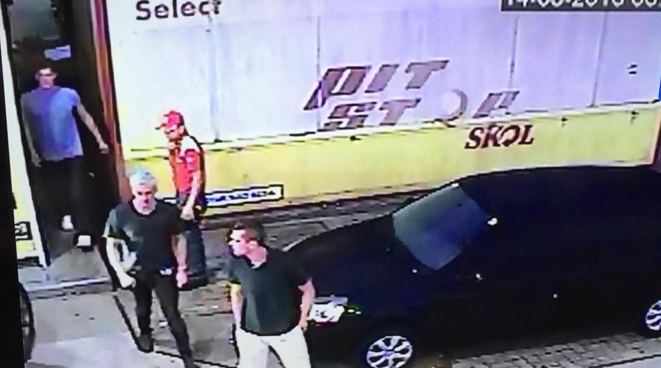 Security footage of Ryan Lochte, U.S. swimmers at gas station