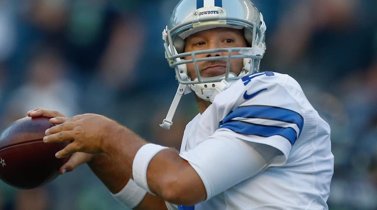 Tony Romo leaves preseason game with apparent back injury IMAGE