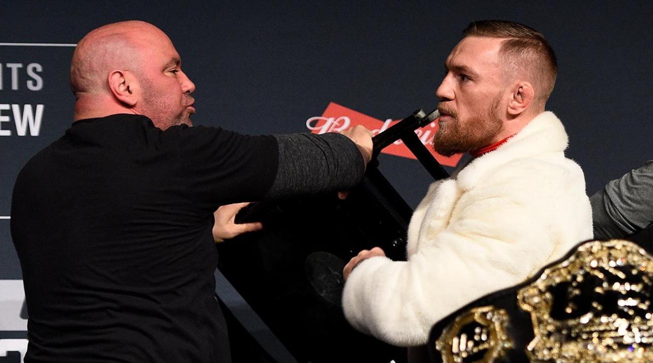 Conor McGregor nearly throws chair at Eddie Alvarez during press conference