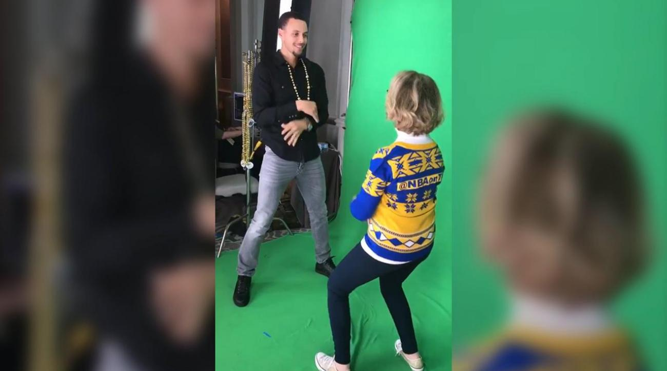 Warriors Dance Cam Mom faces off with Steph Curry