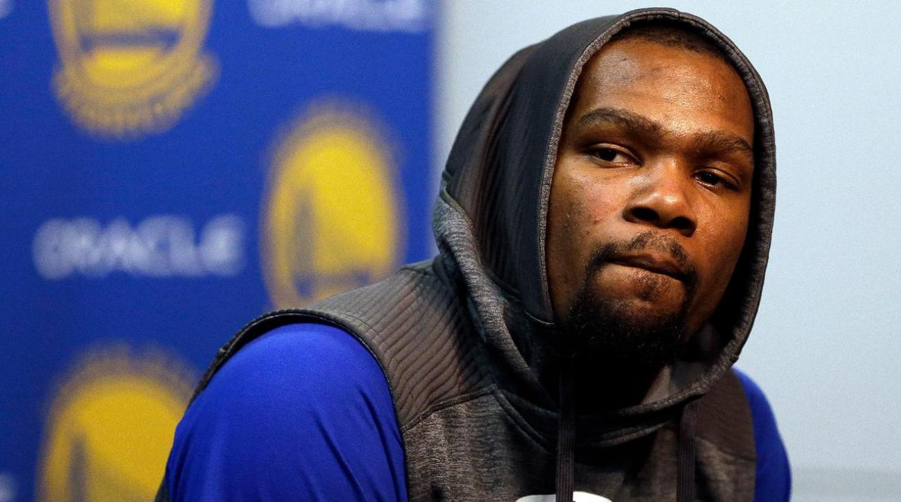 Warriors forward Kevin Durant on his 'boo boo' from playing basketball IMAGE