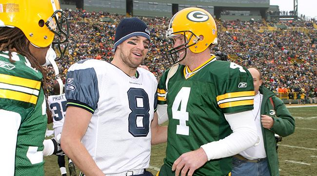 Hasselbeck remembers learning behind Brett Favre in Green Bay at the start of his career.