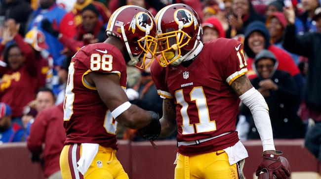 Pierre Garçon (l.) celebrates with DeSean Jackson.