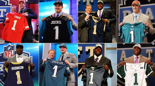 Top row, left to right: Eric Fisher, Luke Joeckel, Jason Smith, Jake Long. Bottom row: Greg Robinson, Lane Johnson, Russell Okung, D'Brickashaw Ferguson.